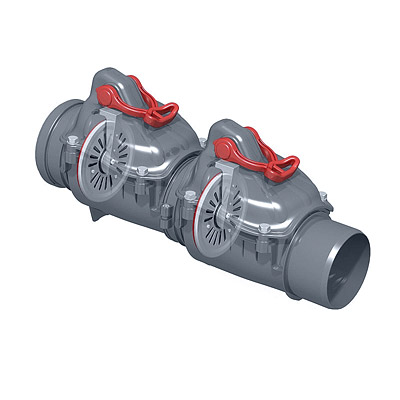 Double flap backwater valve-karmat